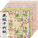 Yuzen Chiyogami floral patterns, Assorted colours, 15cm x 15cm, 1 case of 3 packs, 90 sheets, 70 gsm, [RCZ011A]